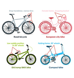 Bicycle types set I vector image vector image