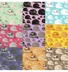 Lying Cat Seamless Pattern vector image