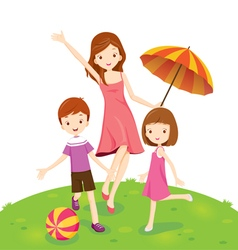 Mother Son And Daughter Enjoying In Park vector image