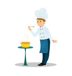professional chef with a spoon and soup pot on the vector image