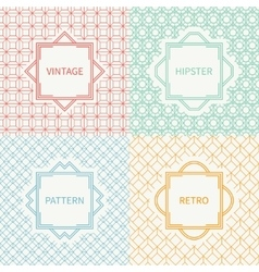 Set of mono line geometric seamless cube pattern vector image