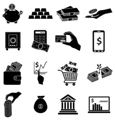 Business money icons set vector image vector image