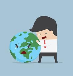 Businessman hug the world vector image