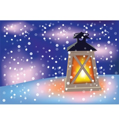 Flashlight and snowflakes vector
