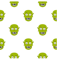 green zombie head pattern seamless vector image