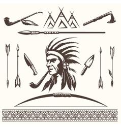 Native american indian ethnic elements vector