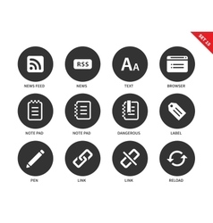 Blogger and office icons on white background vector image vector image