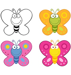 Butterflies Cartoon Mascot Characters Collection vector image