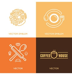logo design element with icons in trendy linear vector image vector image