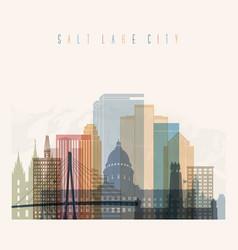 salt lake city state utah skyline detailed silhoue vector image