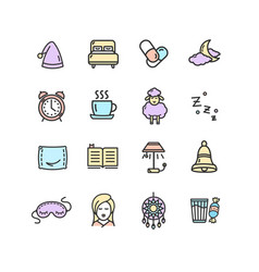 sleeping and insomnia color thin line icon set vector image