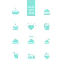 Veggie burger diner icons vector