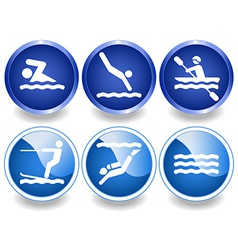 Water icons and stickers vector image vector image