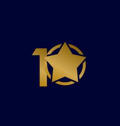 10 years anniversary star gold celebration vector