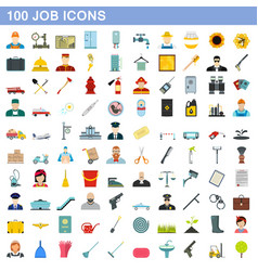 100 job icons set flat style vector image