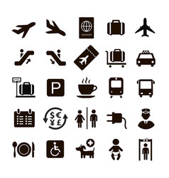 airport icons set arrival departure tickets vector image