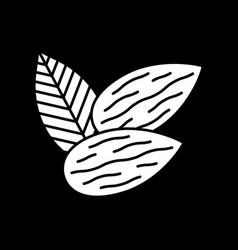 almonds dark mode glyph icon vector image