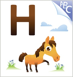 Animal alphabet for the kids H for the Horse vector image