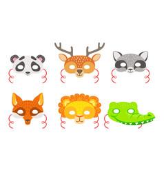 Animals carnival masks set panda deer raccoon vector