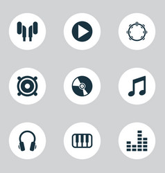 audio icons set with note vinyl mixer and other vector image