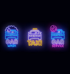 automotive set neon logo car wash taxi vector image
