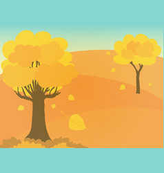 autumn trees with yellow leaves on hill vector image