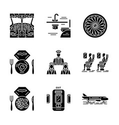 aviation services glyph icons set vector image