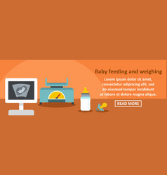 baby feeding and weighting banner horizontal vector image vector image