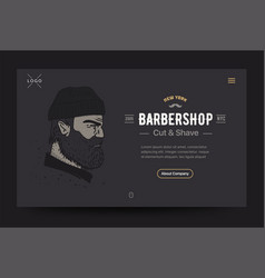 barbershop website template bearded man vector image
