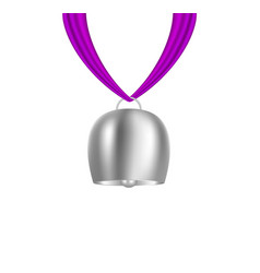 Bell hanging on purple piece of cloth vector