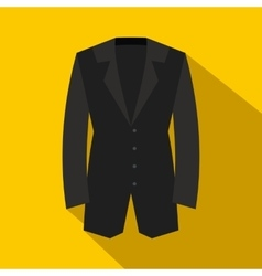 Black classic jacket icon flat style vector