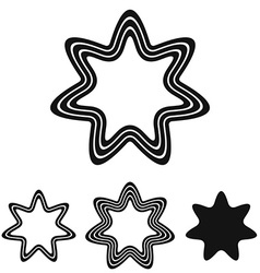 Black line star logo design set vector