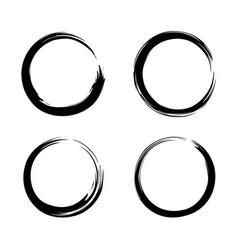 Black zen circle set logo icon sign brush vector