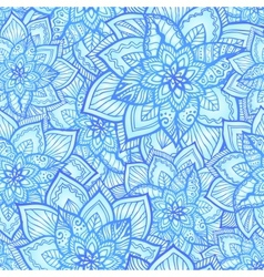 Bright blue floral seamless pattern vector image