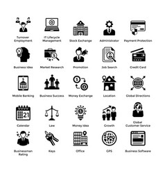 Business and finance glyph icons set 6 vector