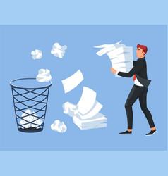 businessman carrying paper pile office trash bin vector image