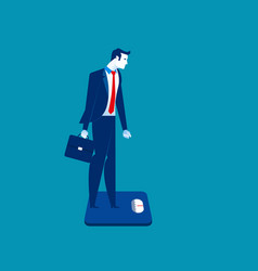 Businessman standing on the scale concept vector