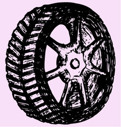 Car wheel tire vector image