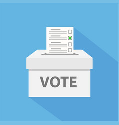 checklist in vote box on blue with long shadow vector image