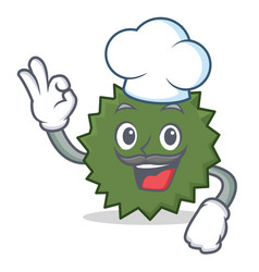 Chef durian character cartoon style vector