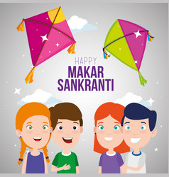 Children celebrate makar sankranti with kites vector