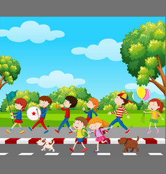 Children in band marching in park vector