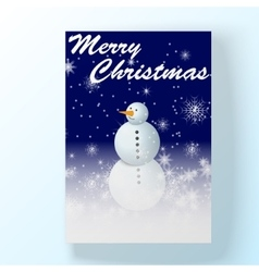 Christmas night hollyday card with snowman vector image