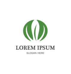 Circle leaf icon logo vector