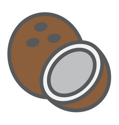 Coconut line icon fruit and tropical vector