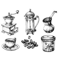 Coffee icons hand drawn set vector