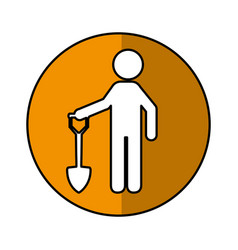 construction worker with shovel avatar vector image