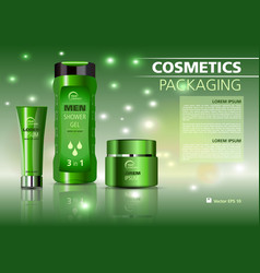 cosmetics template with creme shower gel vector image