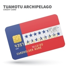 Credit card with Tuamotu Archipelago flag vector
