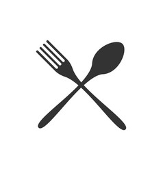 crossed spoon and fork black icon isolated on vector image